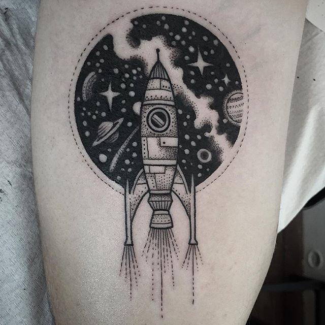 Drawn planets rocket ship Planets stars tattoo about ship