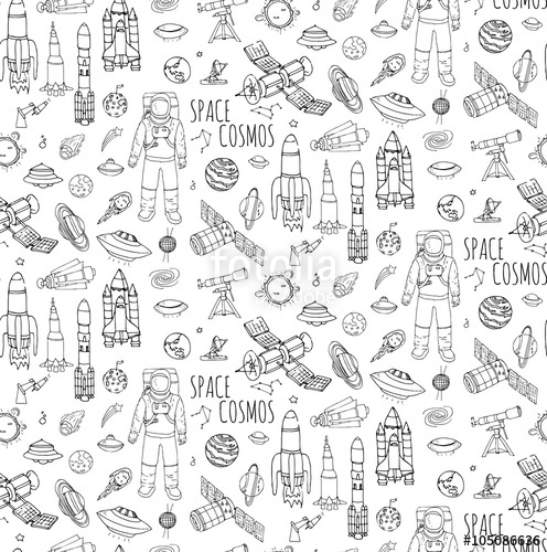 Drawn universe cartoon Vector and icons Vector background