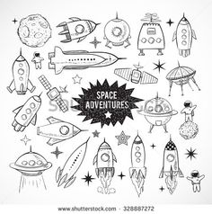 Drawn planets rocket ship Objects isolated sketchy rockets white