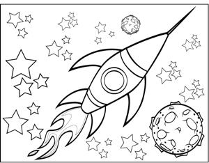 Drawn planets rocket ship Coloring Page and Rocketship