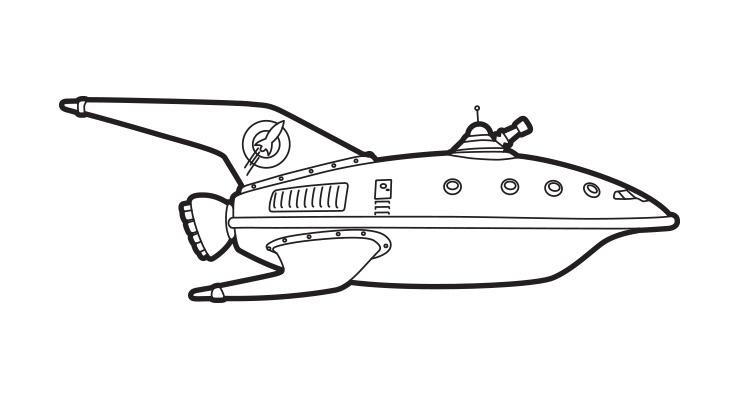 Drawn planets ship line Planet Hasegawa Steven Ship Express