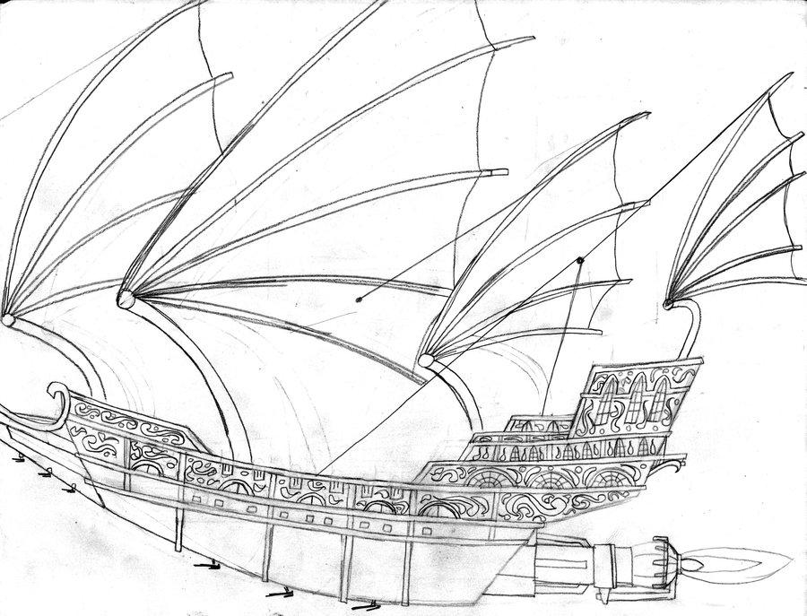 Drawn planets ship line II Planet by Treasure by