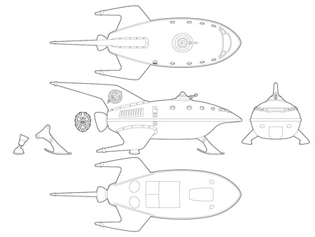 Drawn planets ship line Planet Props Express Volpin Planet