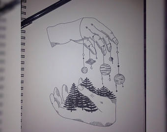 Drawn planets sketch Hands Planets drawing Trees ink