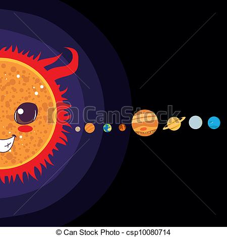 Drawn planets solar system Vector Art Clip of System