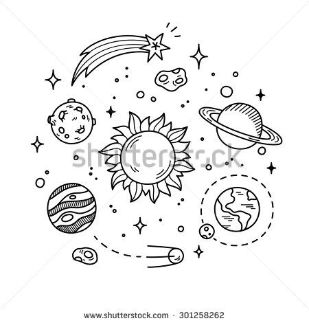 Drawn planets solar system Other Hand system  sun