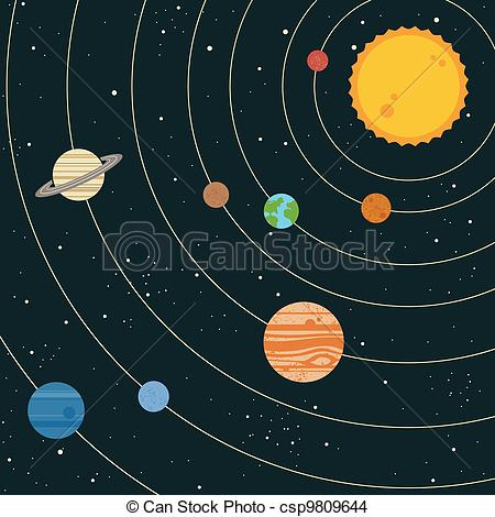 Drawn planets solar system Csp9809644 Vector EPS of system