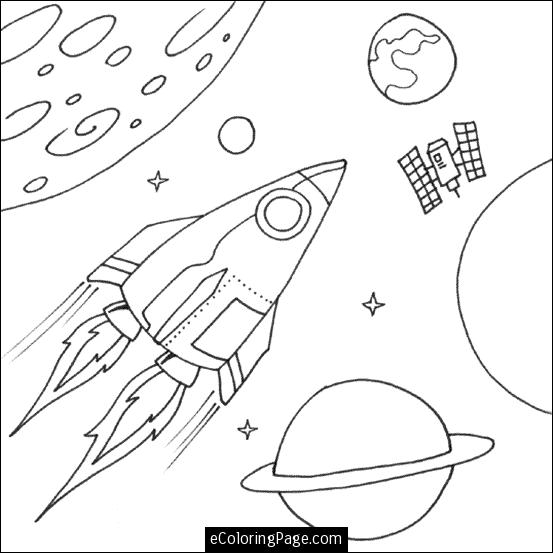 Drawn planets space rocket For and page FREE kids