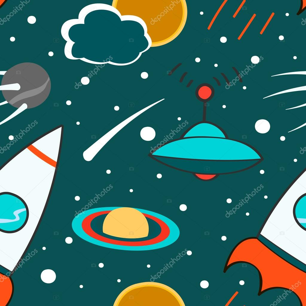 Drawn planets space rocket Space Seamless planets outer comet