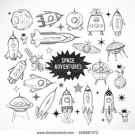 Drawn planets space rocket White space on Collection background