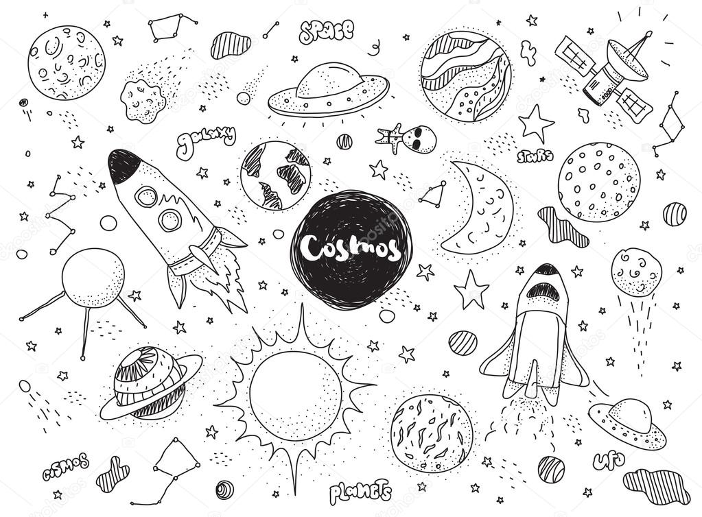 Drawn planets space rocket Doodles set ufo doodles constellations