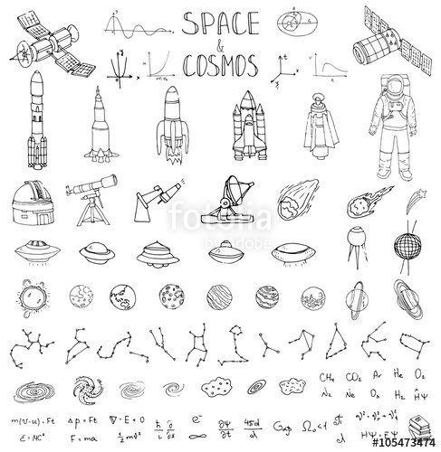 Drawn planets universe Drawn elements  and Space