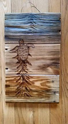 Drawn planks art Wood on Hand reclaimed Sea