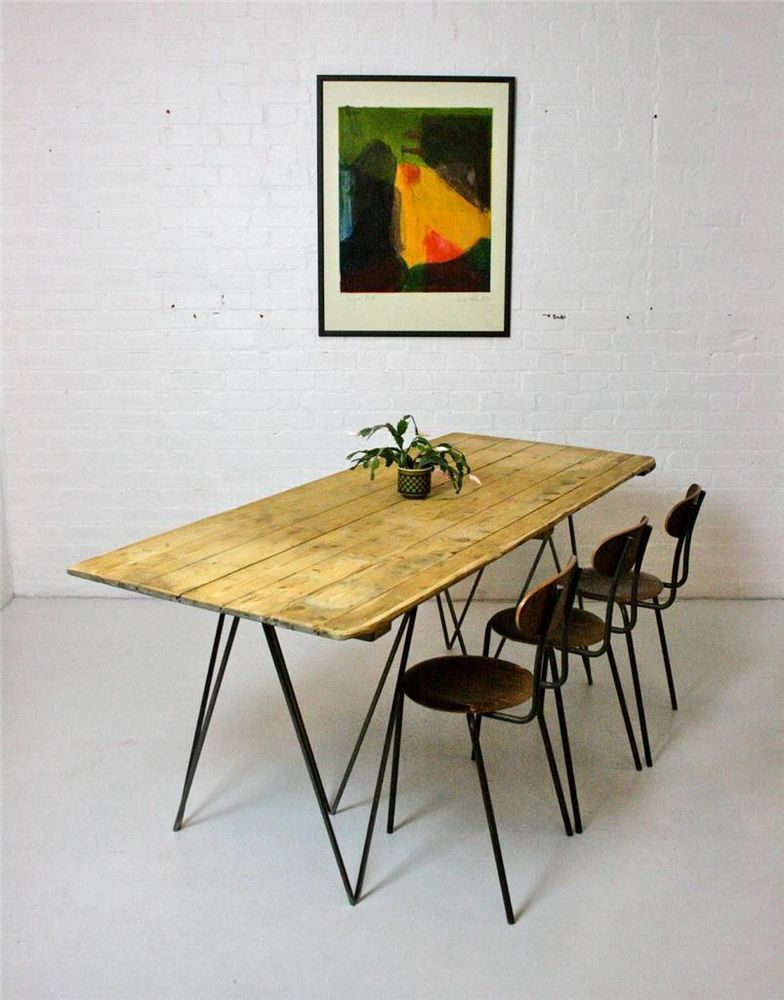 Drawn planks industrial With with Vintage Table Large