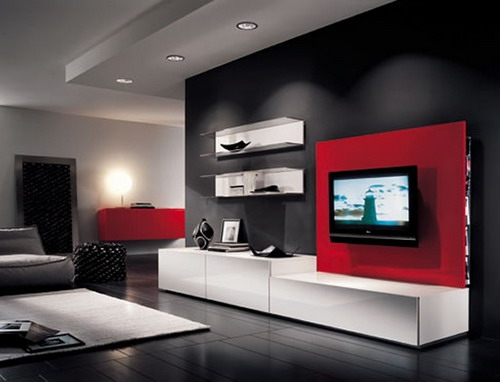 Drawn planks lcd Furniture  modern living room