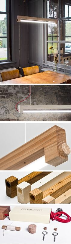 Drawn planks led Named tableros lamp design HOMBRE