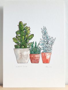 Drawn plant cactus succulent Succulent print succulent Plant Small