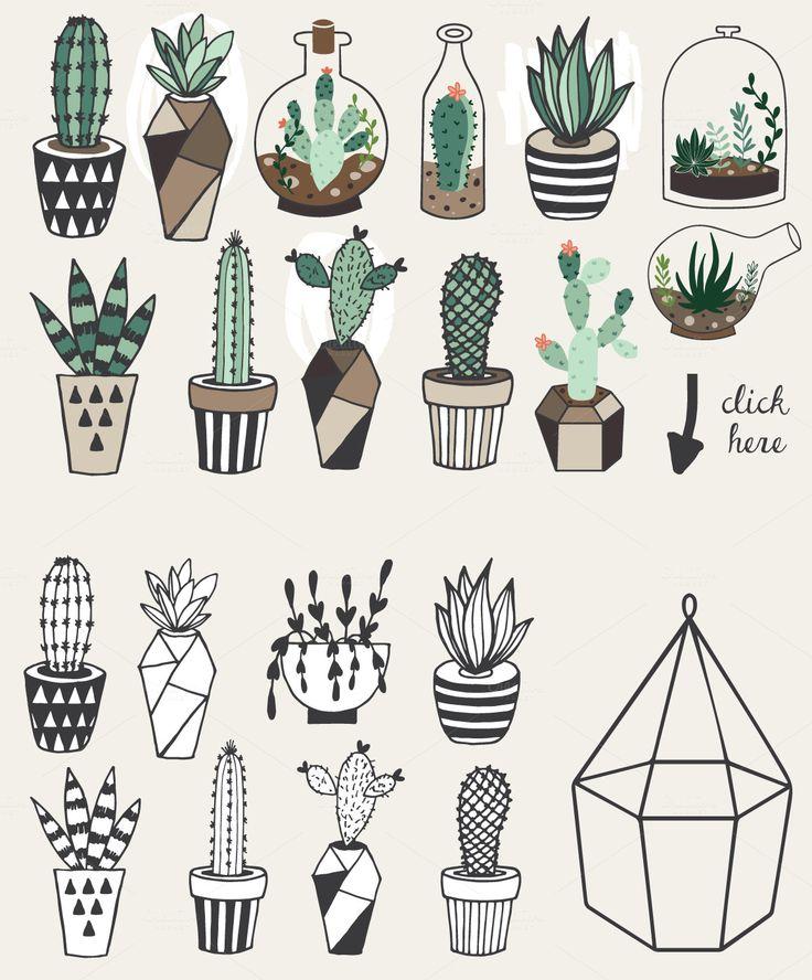Drawn pot plant creative License 25+ Plant Succulents Pinterest