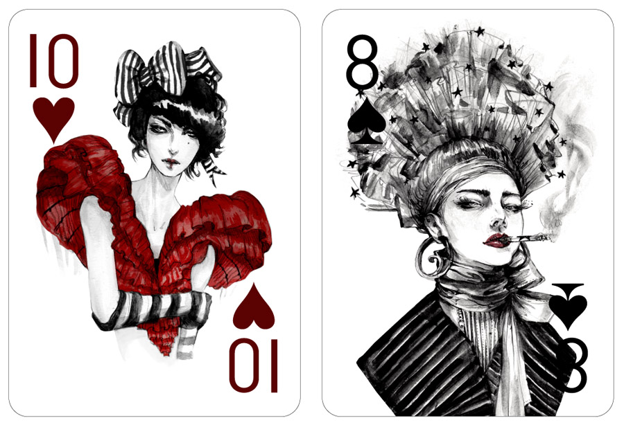 Drawn playing  cards Fashion Cards Playing