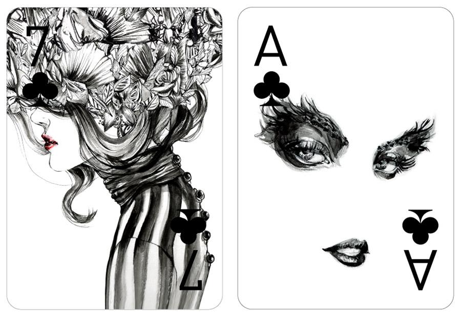 Drawn playing Playing Playing  Fashion Cards