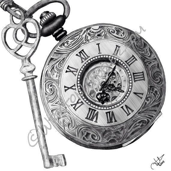 Drawn watch pocket watch Key watch Pocket drawing by