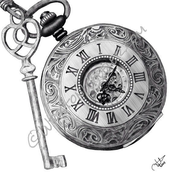 Drawn compass pocket watch drawing Timing and digital by key
