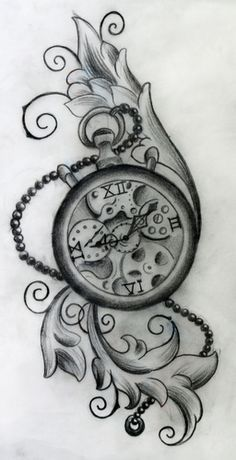 Pocket Watch clipart chain sketch The the leaf DesignPocket tattoo