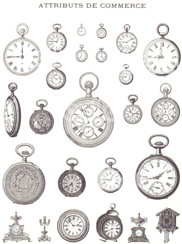 Pocket Watch clipart ornamental Pipes watch Vintage early from
