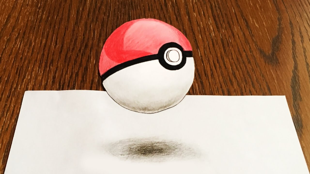 Drawn pokeball 3d drawing Drawing Pokeball to How to