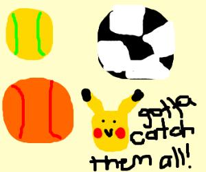 Drawn pokeball basketball Tennisbal soccerball kiwimags) basketball (drawing