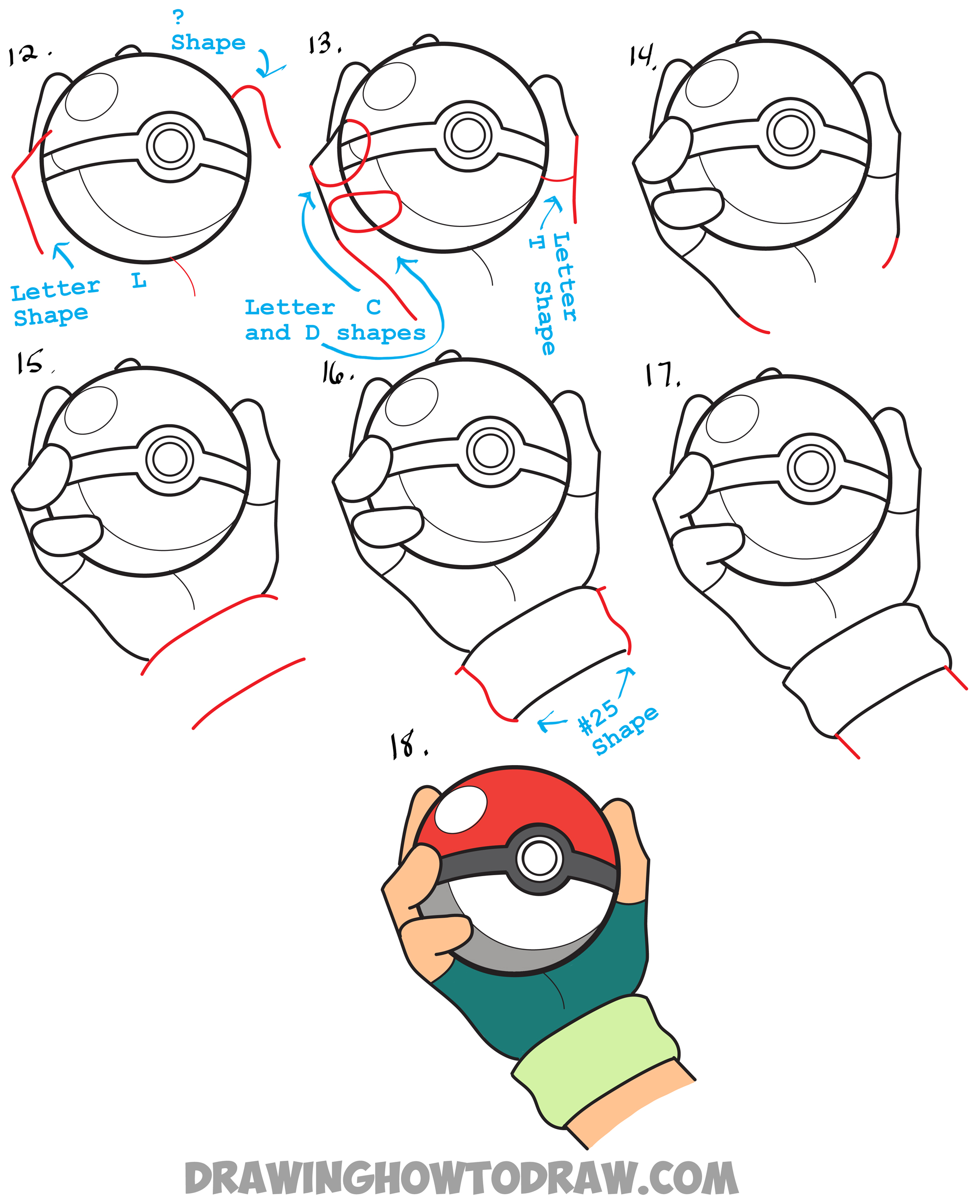 Drawn pokeball doodle In Steps Pokeball Step How