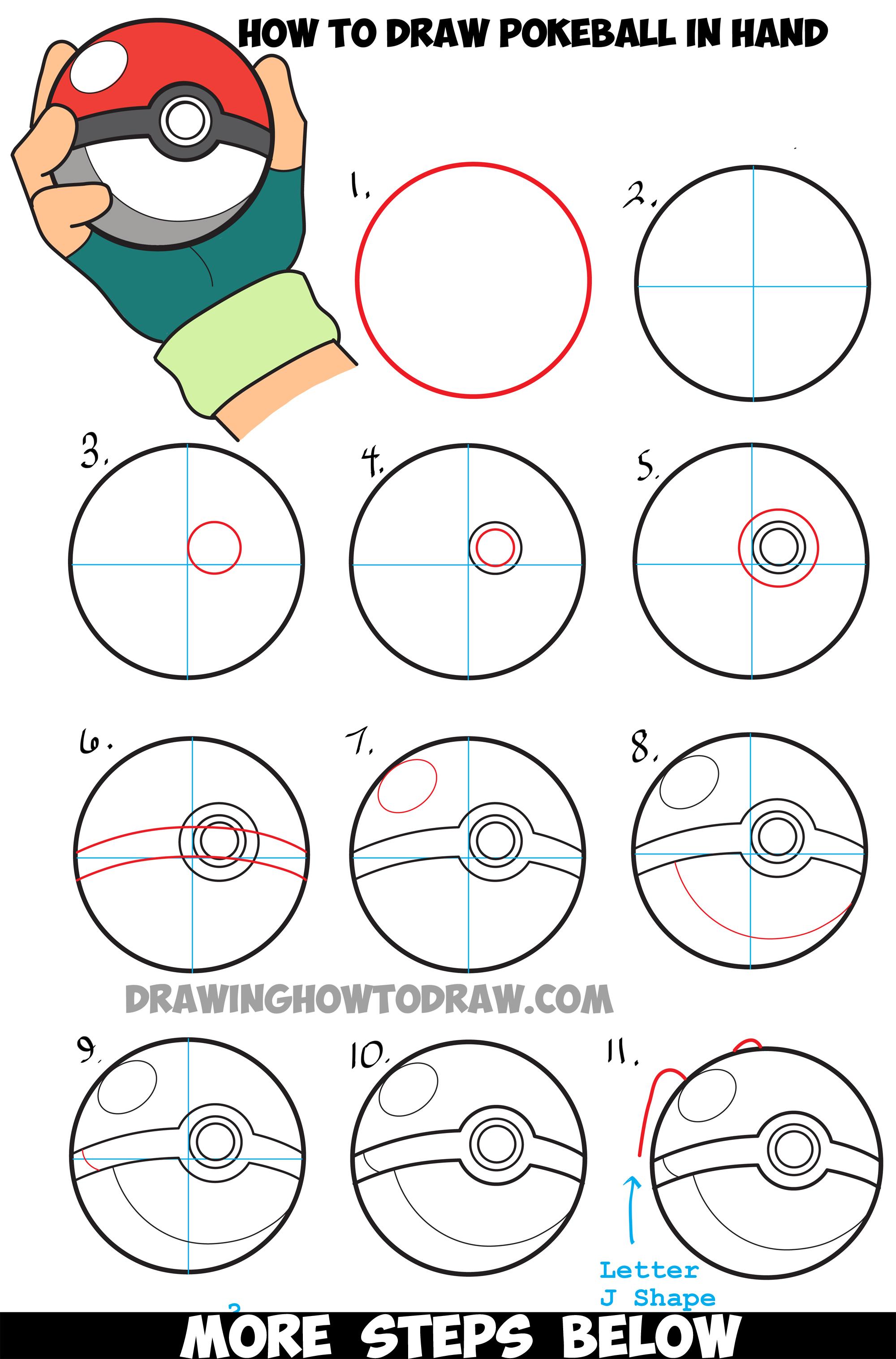 Drawn pokeball drawing Step in Drawing Hand Pokemon
