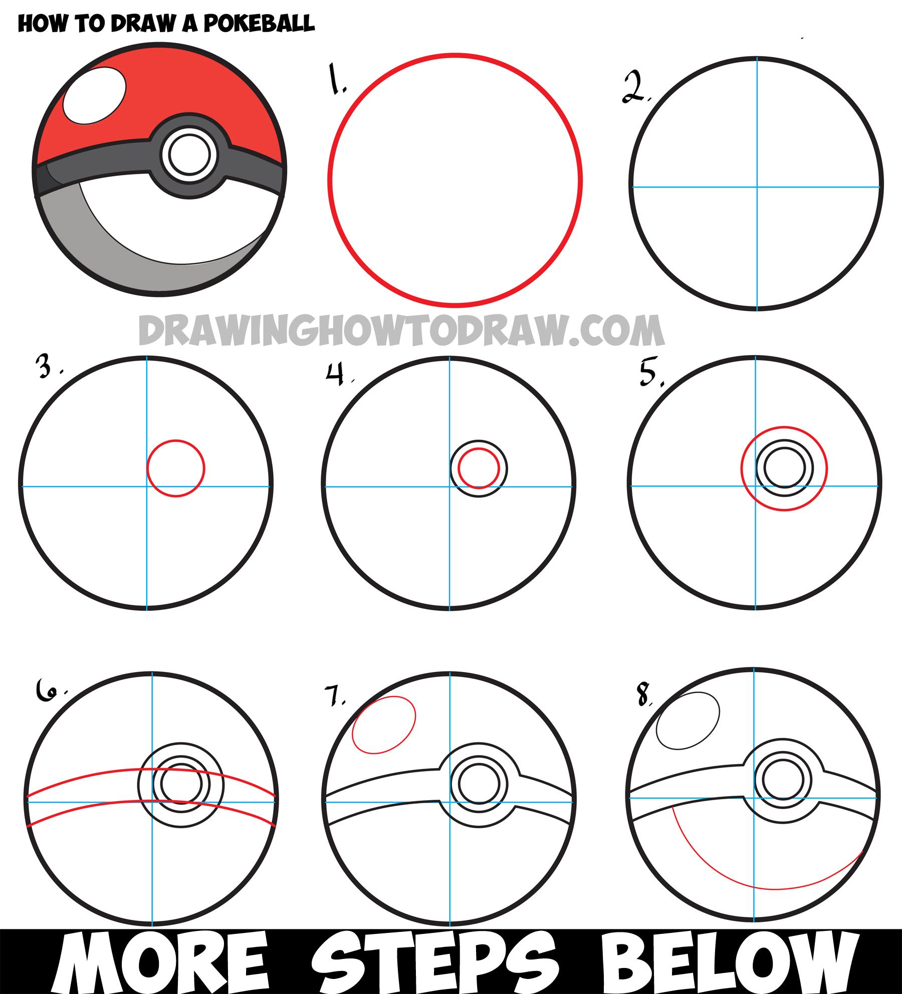 Drawn pokeball drawing Easy Pokeball Drawing Pokemon Step