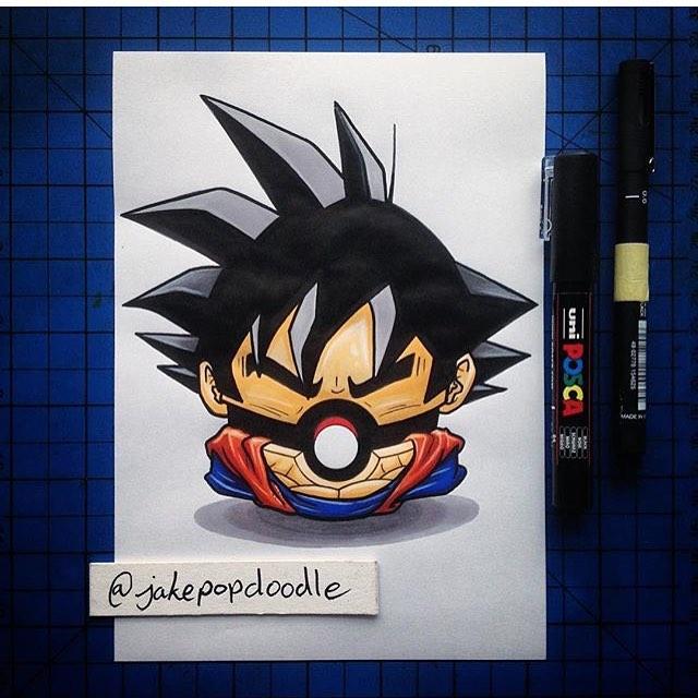 Drawn pokeball shaded Pokemon Goku pokéball on art