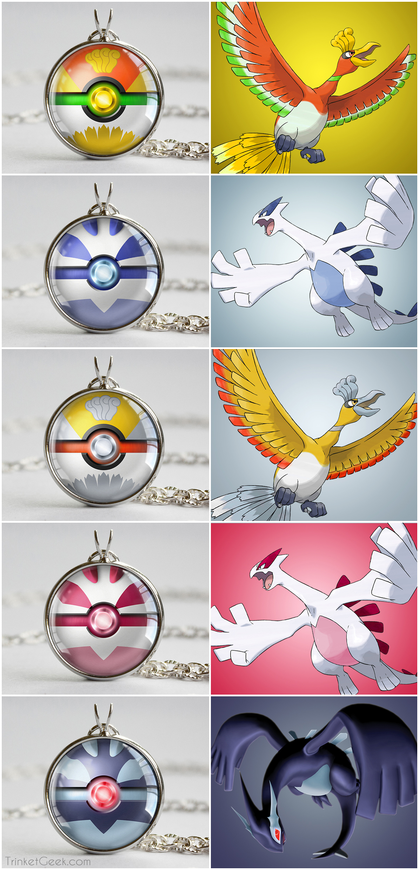 Drawn pokeball shadow Silver Legendary Bird Lugia pendants