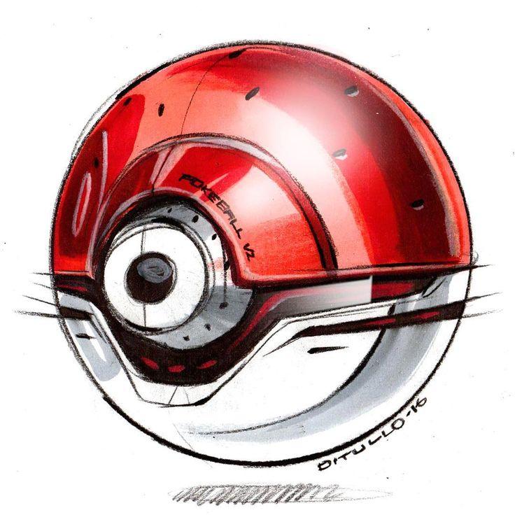 Drawn pokeball sports equipment ID slight Prismacolor on a