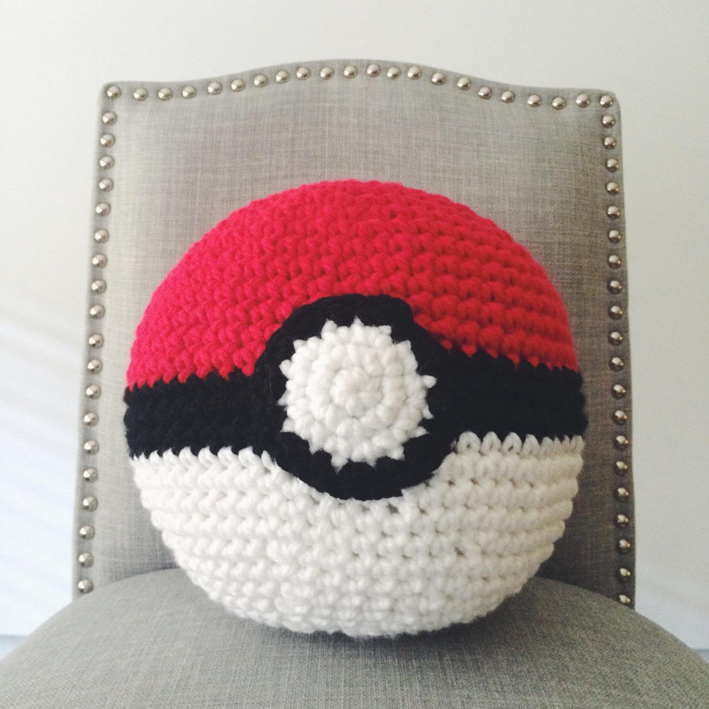Drawn pokeball wool Inspired Pokeball Pillow Crochet Etsy