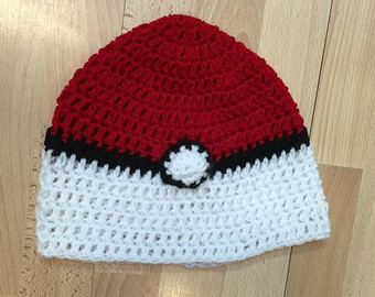 Drawn pokeball wool Pokeball red hat ornament Pokeball