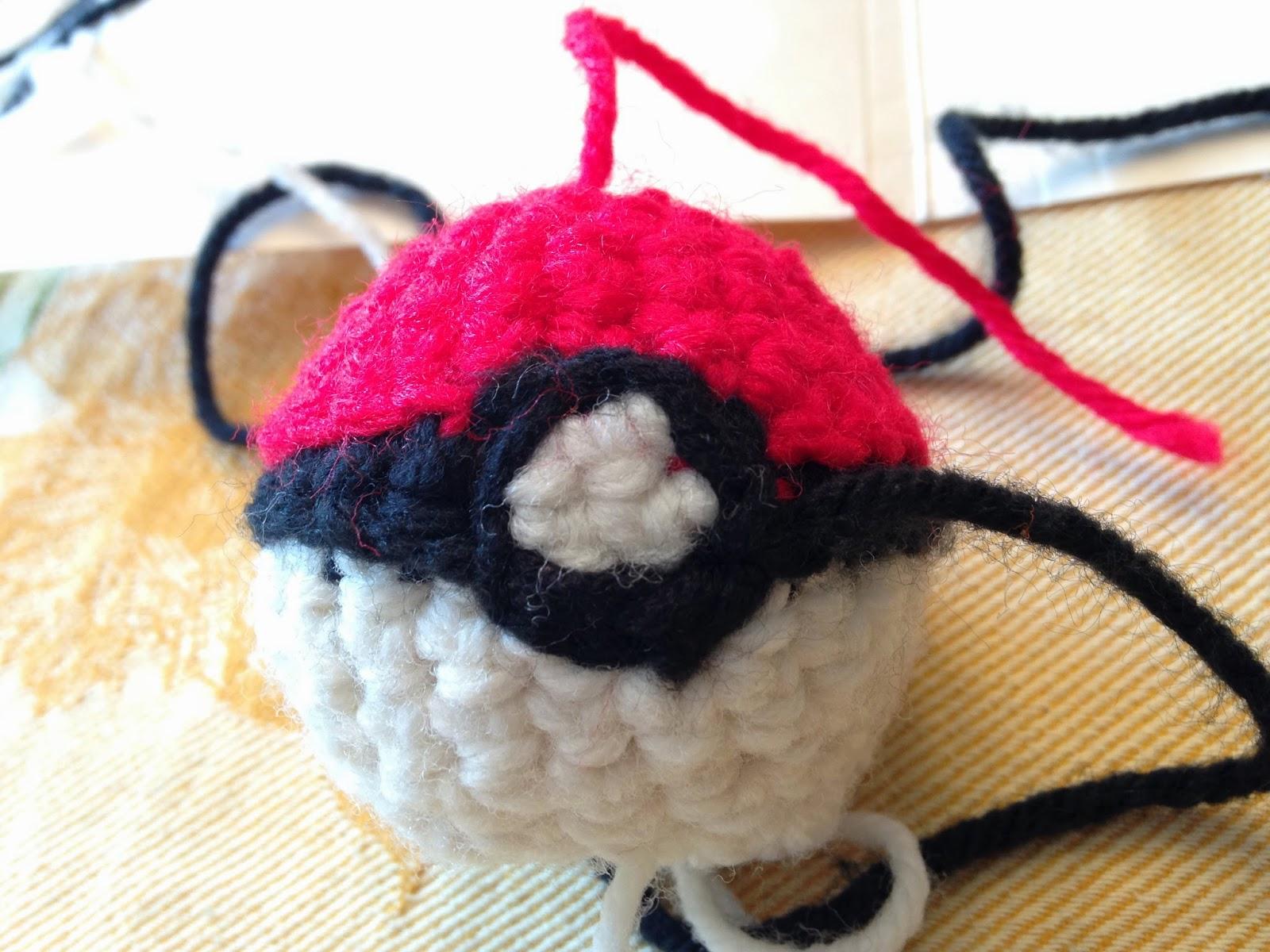 Drawn pokeball yarn To stitching finish Pokeball Creations: