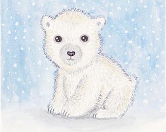 Drawn polar  bear adorable baby Animal Polar bear art print