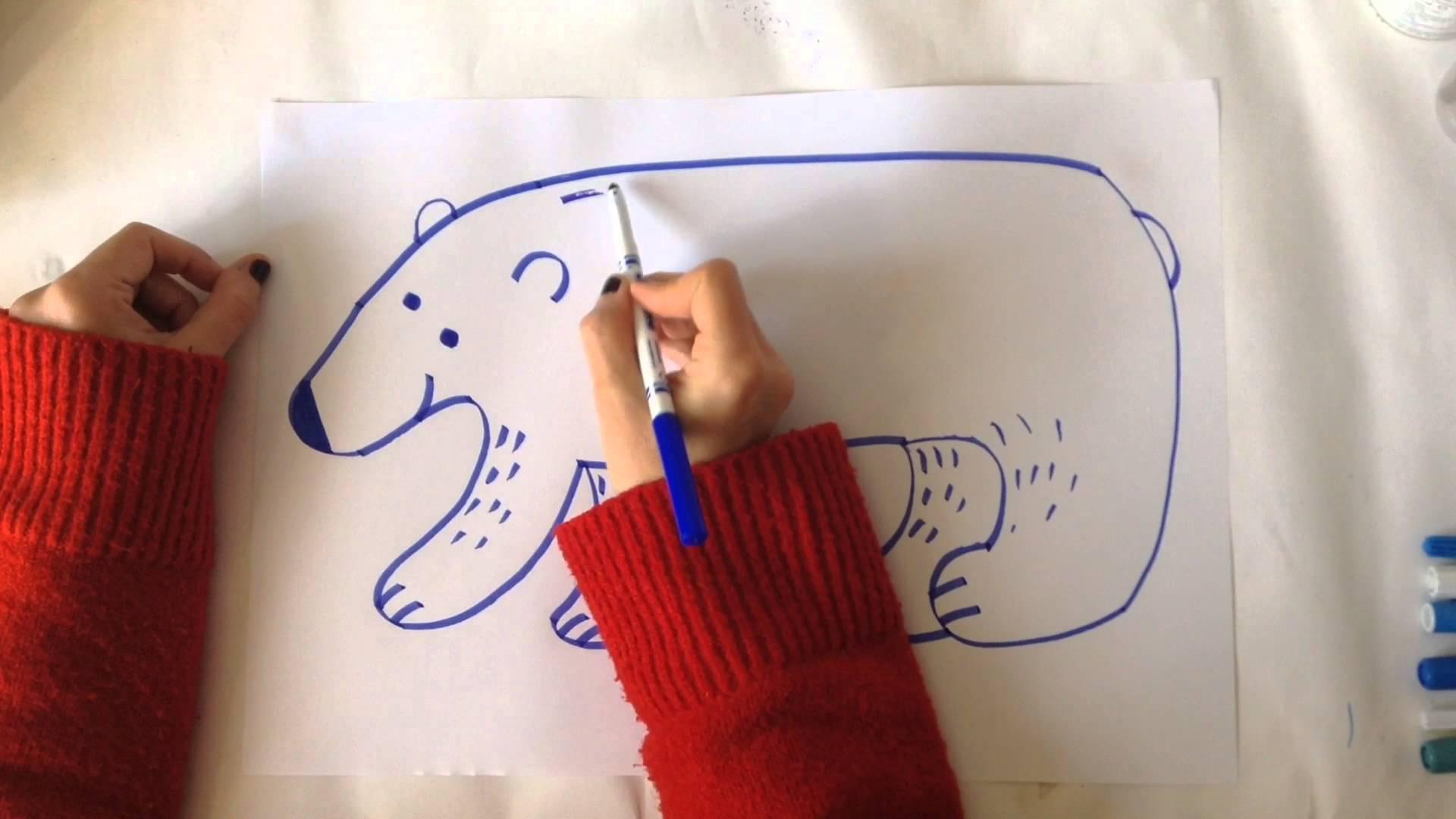 Drawn polar  bear arctic animal #10