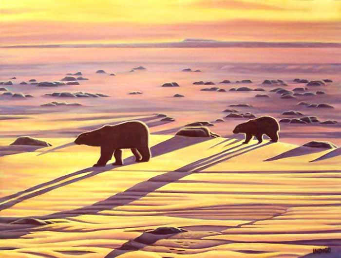 Drawn polar  bear arctic landscape Polar PAINTINGS ARCTIC  PAINTINGS
