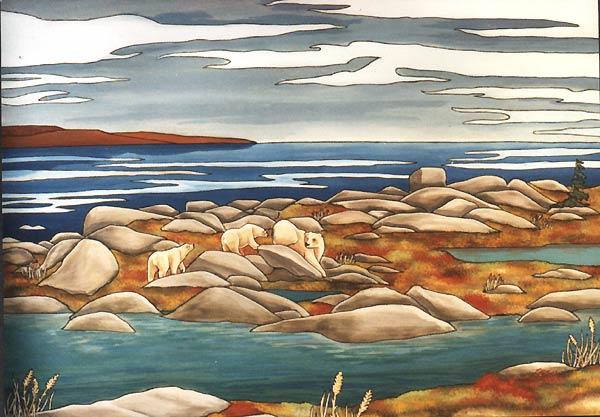 Drawn polar  bear arctic landscape POLAR tundra POLAR the ARCTIC