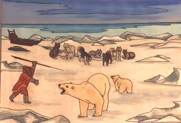 Drawn polar  bear arctic landscape Unique inuit ARCTIC PAINTINGS