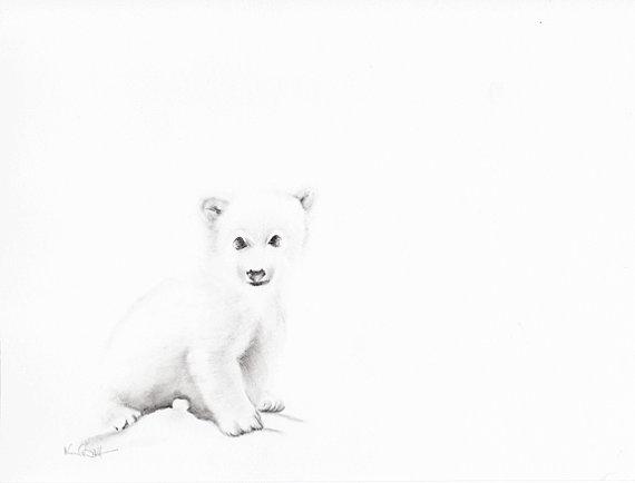Drawn polar  bear baby animal Print art Polar Wall Drawing