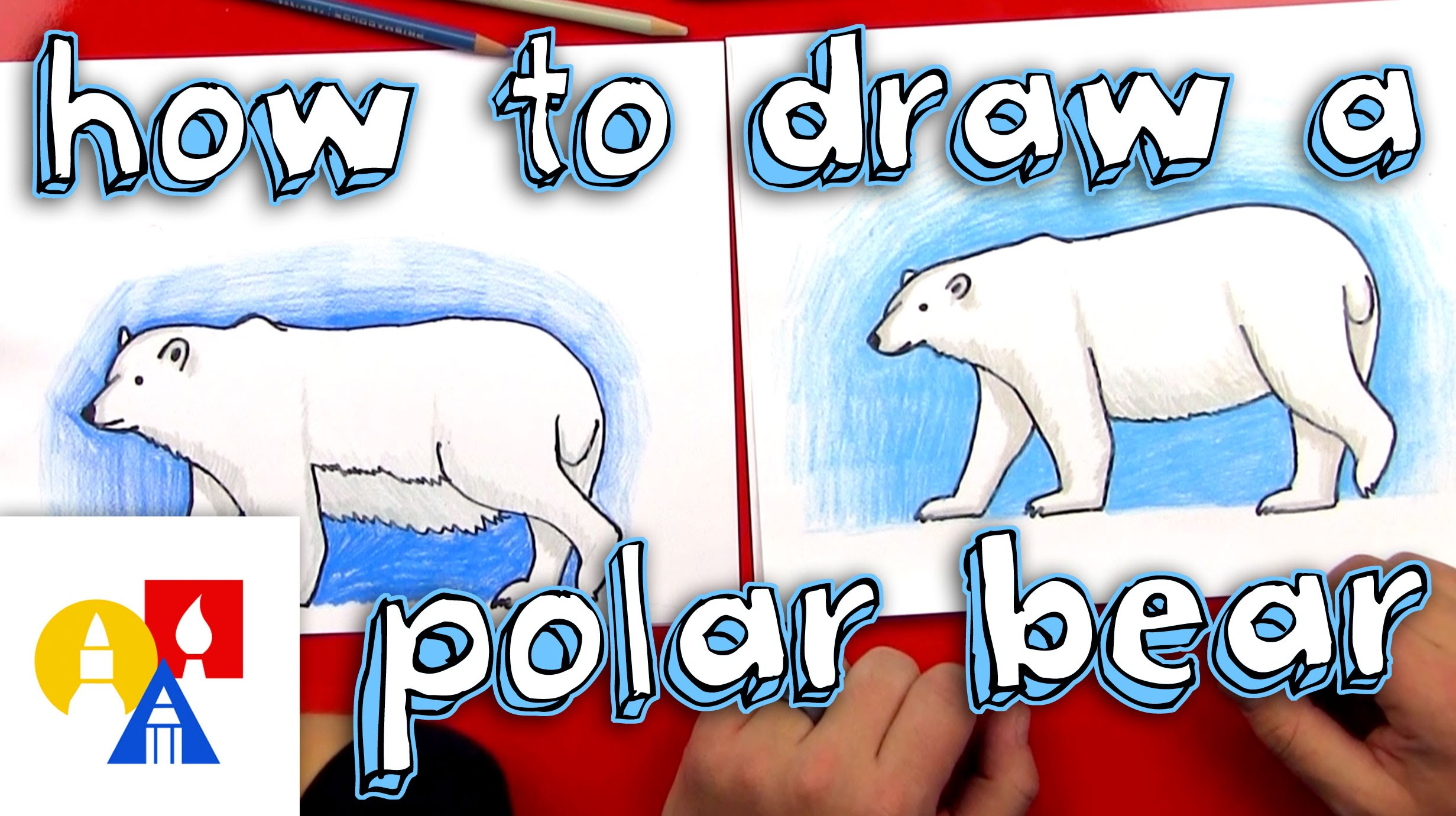 Drawn polar  bear blue #1