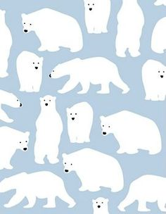 Drawn polar  bear blue #4