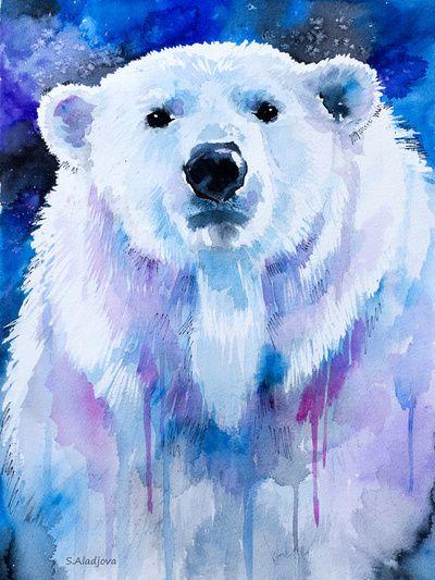 Drawn polar  bear blue #2