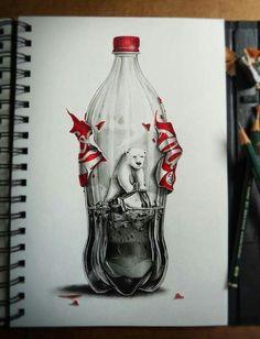 Drawn polar  bear coca cola #11