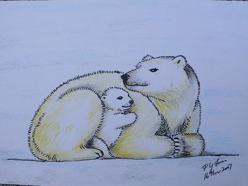 Drawn polar  bear color Drawing on love images best
